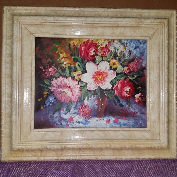 nwot framed Oil Painting of Flowers